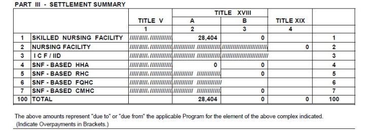 Settlement Summary from Medicare Cost Report